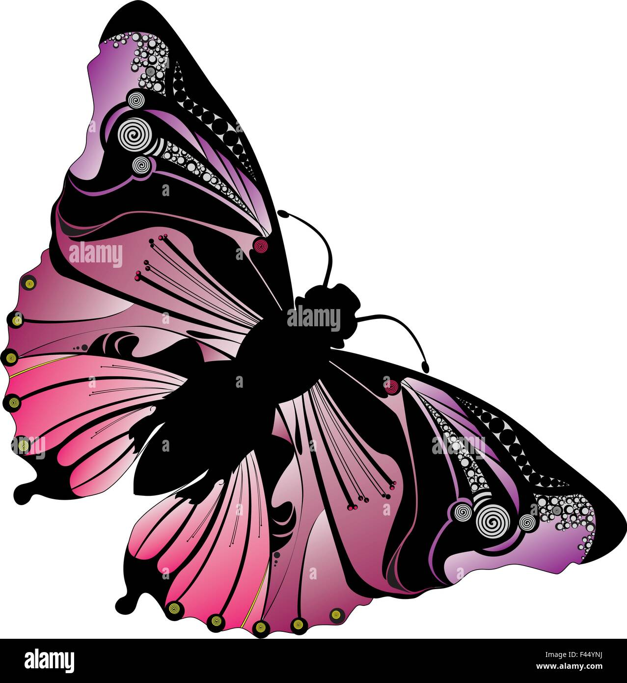 e5abc5e1 Pink art butterfly - Stock Image Pink art butterfly. Image ID: F44YNJ (RF).  Butterfly wings spread tribal design ...
