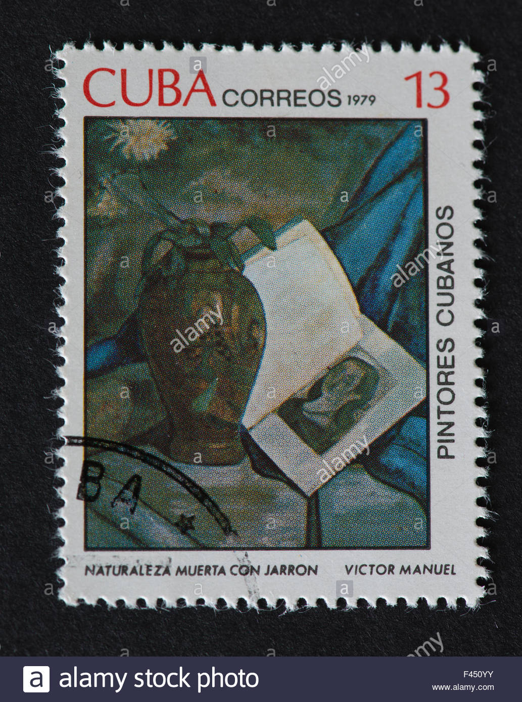 Cuban 1979 stamp on 'Painters of Cuba' series depicting a painting by Victor Manuel, named 'Naturaleza - Stock Image