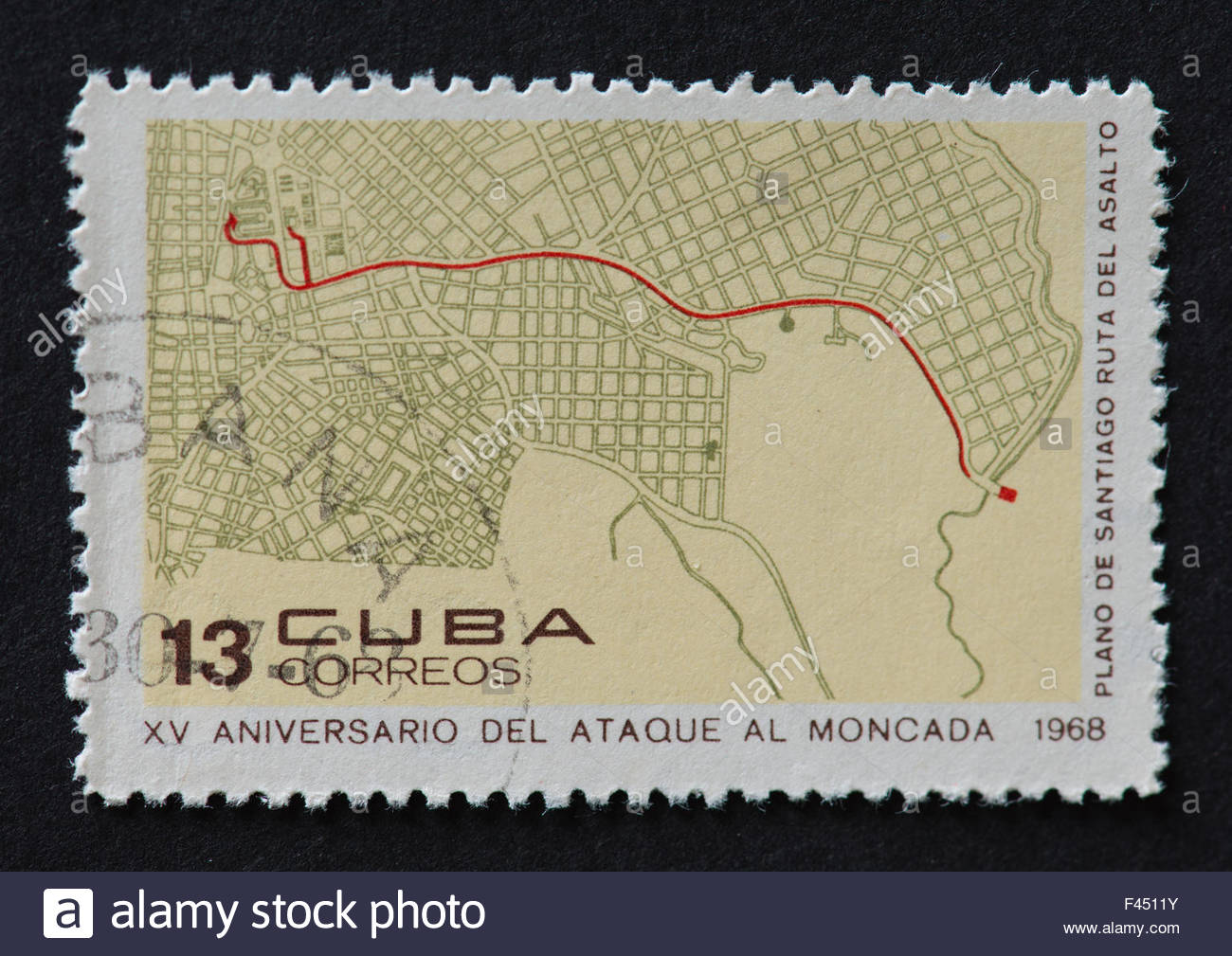Cuban 1968 stamp commemorating the 15th anniversary of the attack on Moncada. The stamp shows the route map for - Stock Image