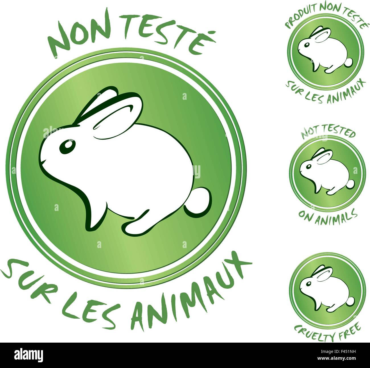Not tested on animals labels Stock Vector