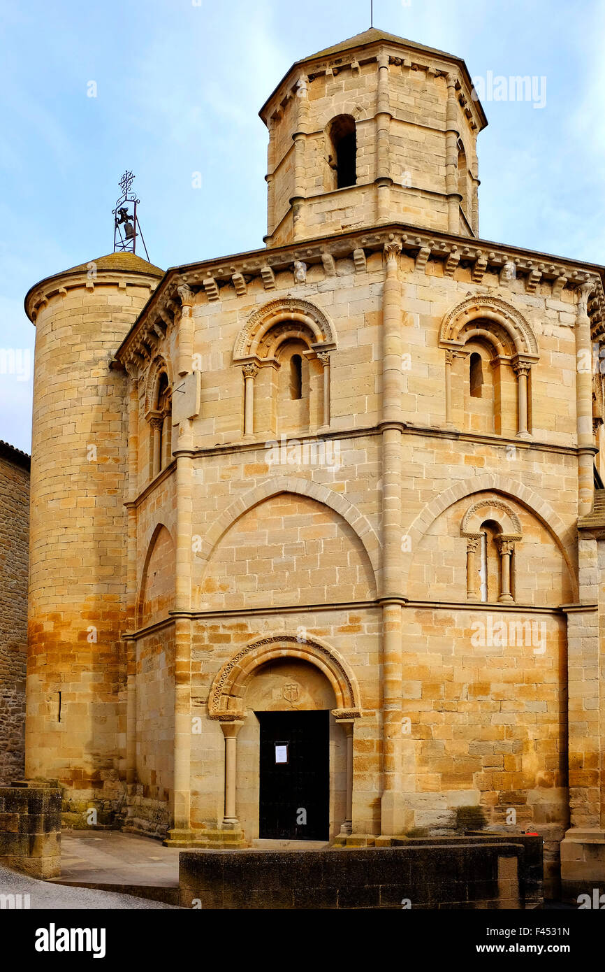 Church of the Holy Sepulchre, a templar church in Torres del Rio,Navarre, Spain - Stock Image