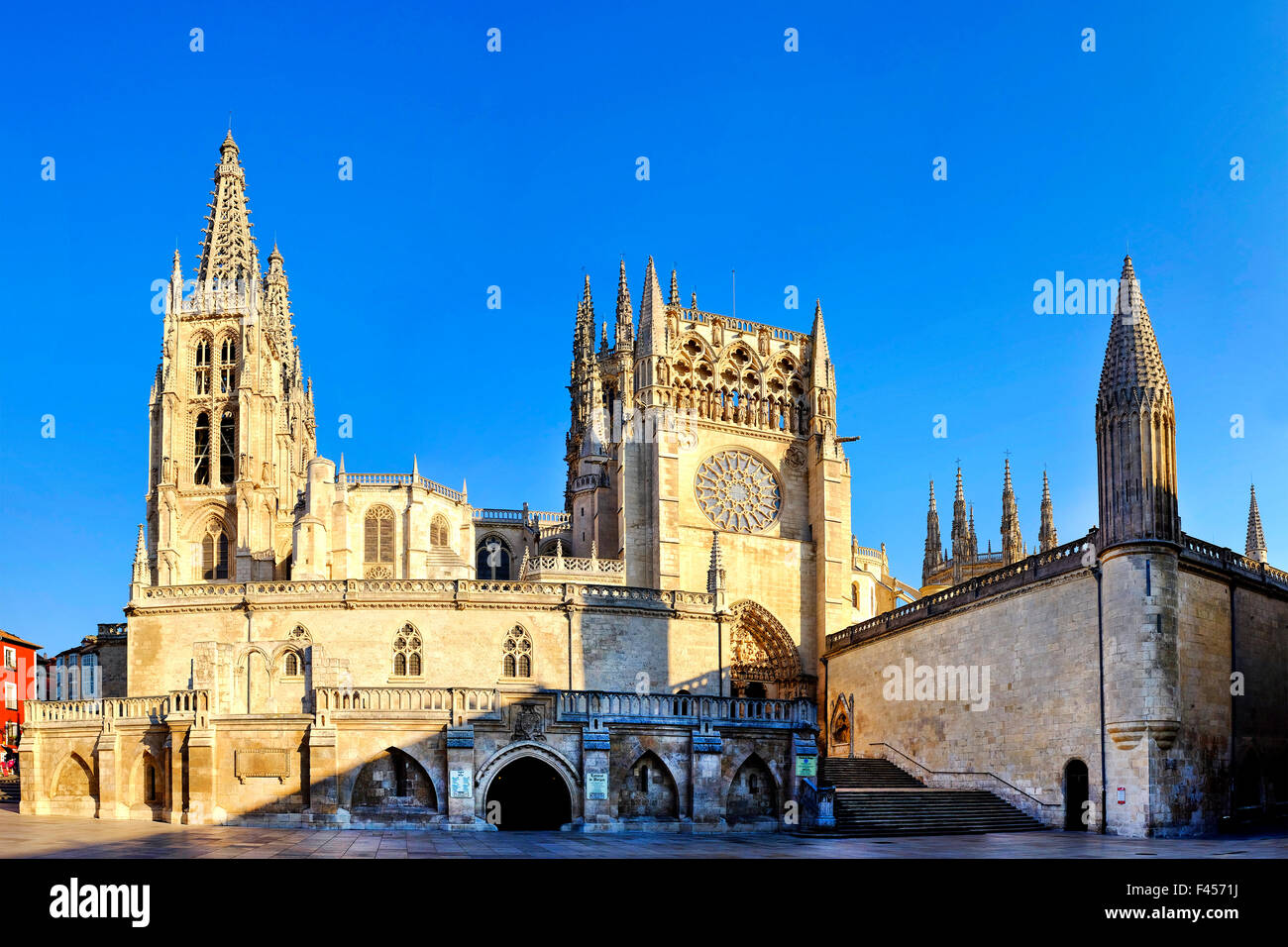 Stitched photo of the south side of Cathedral of Burgos, Burgos,Castile and León,Castilla y León, Spain, - Stock Image