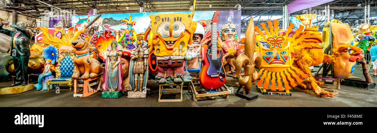 In New Orleans, LA, fanciful sculptures are stored in the warehouse of Mardi Gras World where Mardi Gras carnival - Stock Image