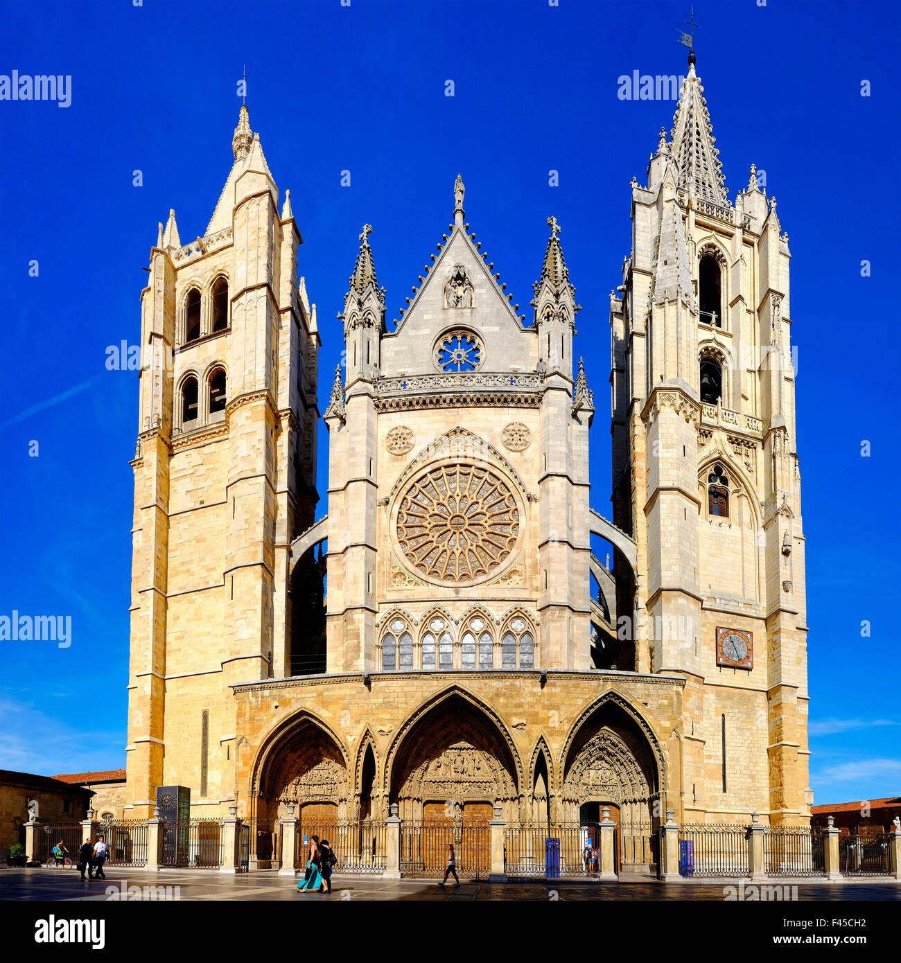 Cathedral of Santa Maria de Leon, Leon,Castile and León, Spain - Stock Image