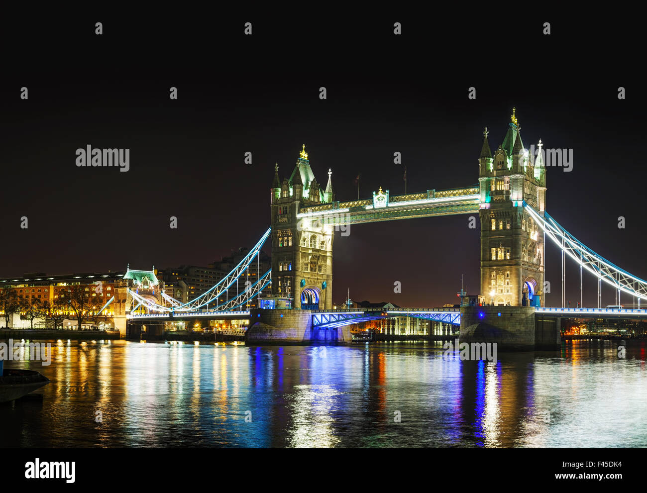 Tower bridge panoramic overview in London - Stock Image