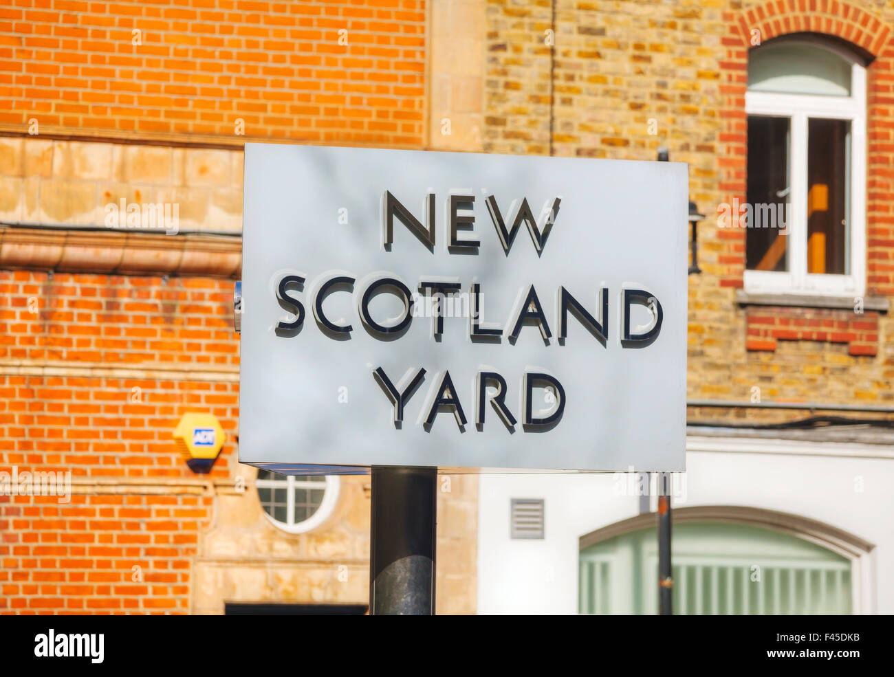 Famous New Scotland Yard sign in London - Stock Image
