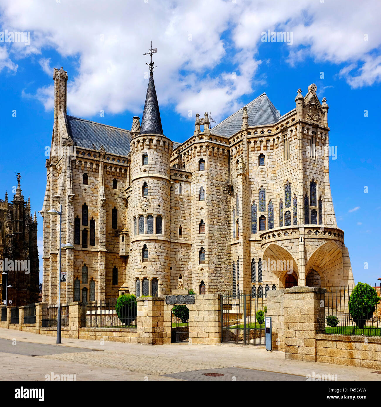 Episcopal Palace of Astorga designed by Antoni Gaudí, Castile and León, Spain - Stock Image
