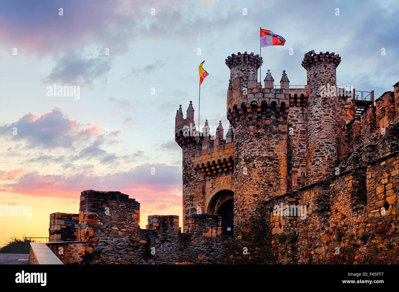 Facade of the knights templar castle at sunset, Ponferrada, Castile and León, Spain - Stock Image