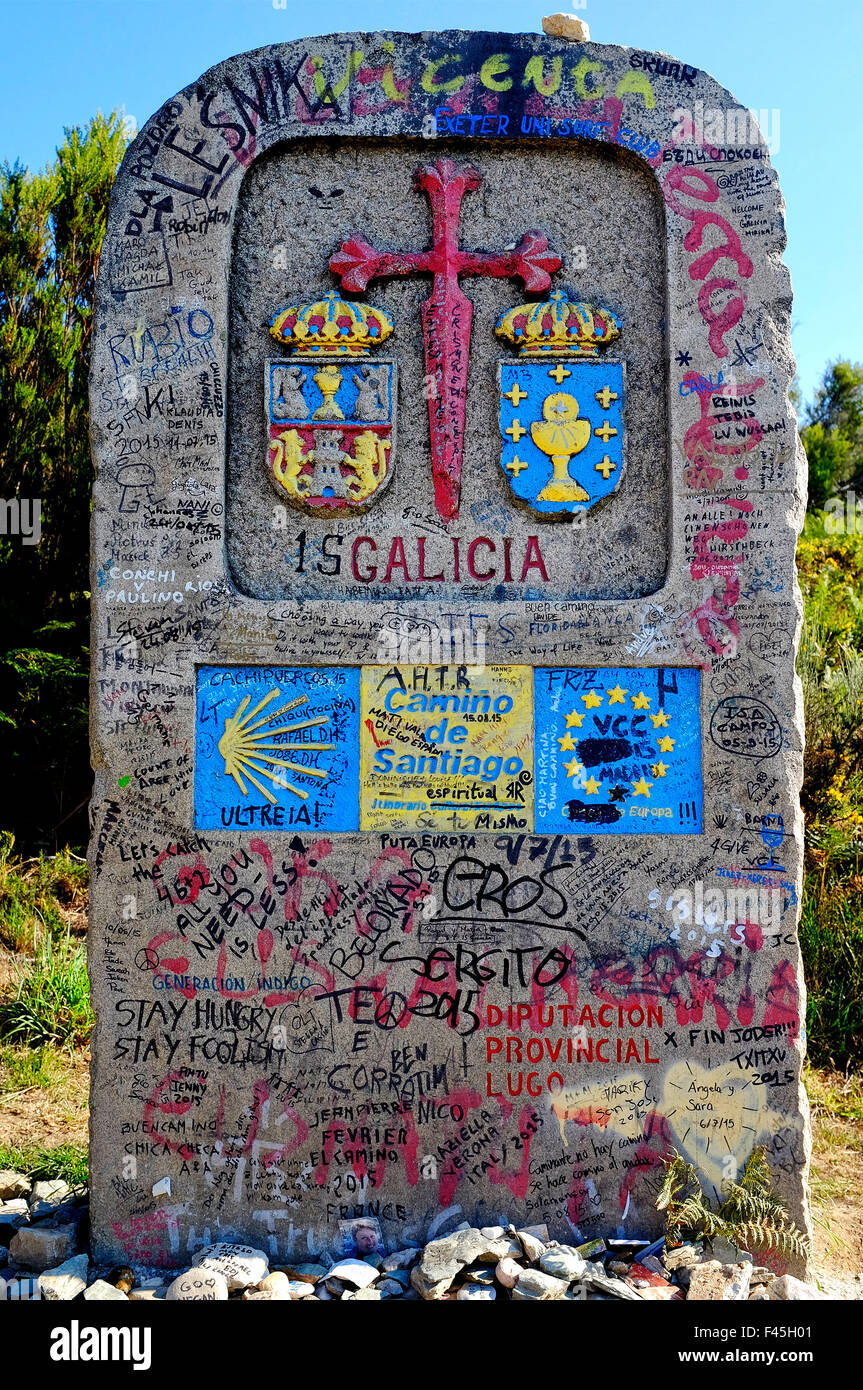 Milestone that marks the entry in the Spanish region of Galicia on the Way of Saint James (Camino de Santiago), - Stock Image