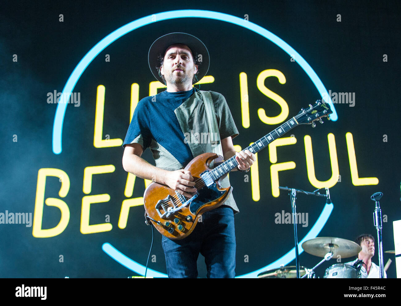 Musician James Shaw of Metric performs on stage during Life Is Beautiful Festival in Las Vegas Stock Photo