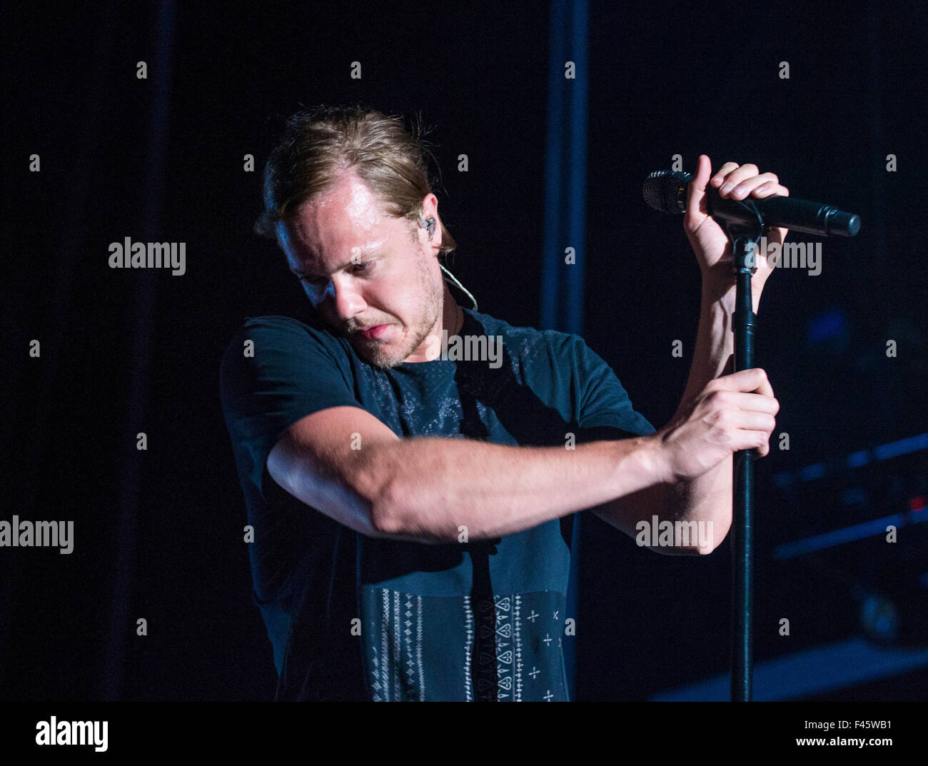 Dan Reynolds of Imagine Dragons performs on stage during Life Is Beautiful Festival in Las Vegas - Stock Image