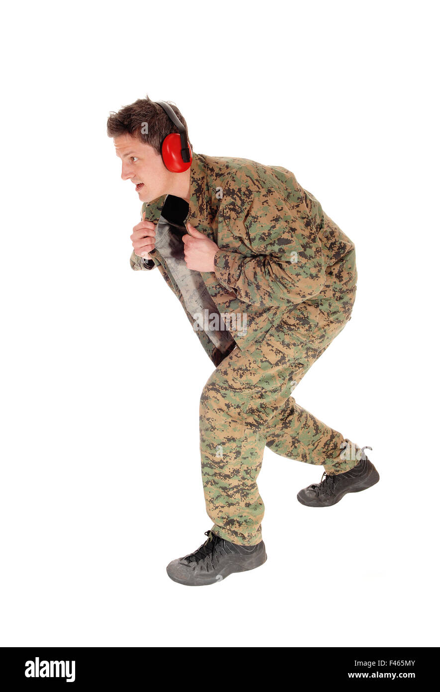 Soldier in camouflage uniform. - Stock Image