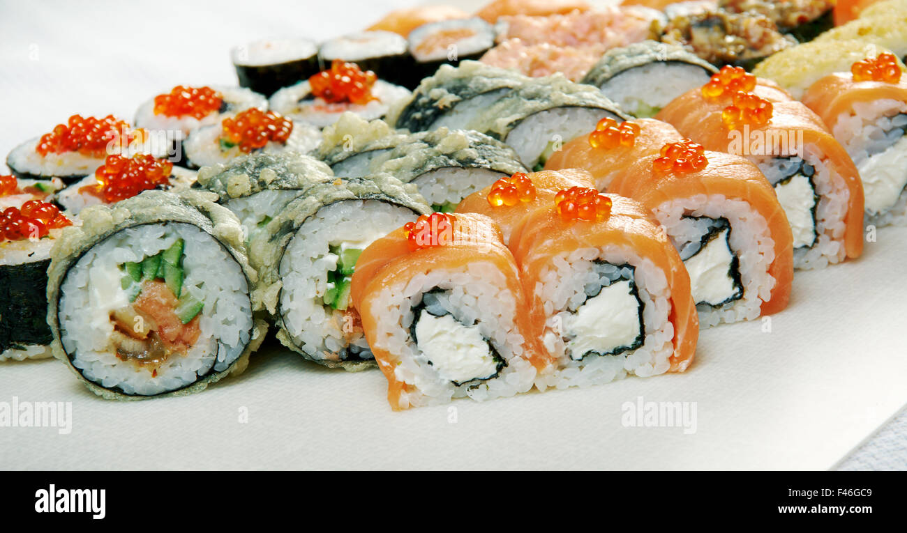 Food set of different Japanese Cuisine - Sushi Roll . - Stock Image