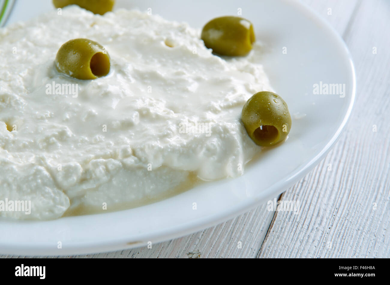 Tirokafteri -  cheese spread from Greece. ingredients feta cheese,hot peppers ,roasted peppers, olive oil, lemon - Stock Image