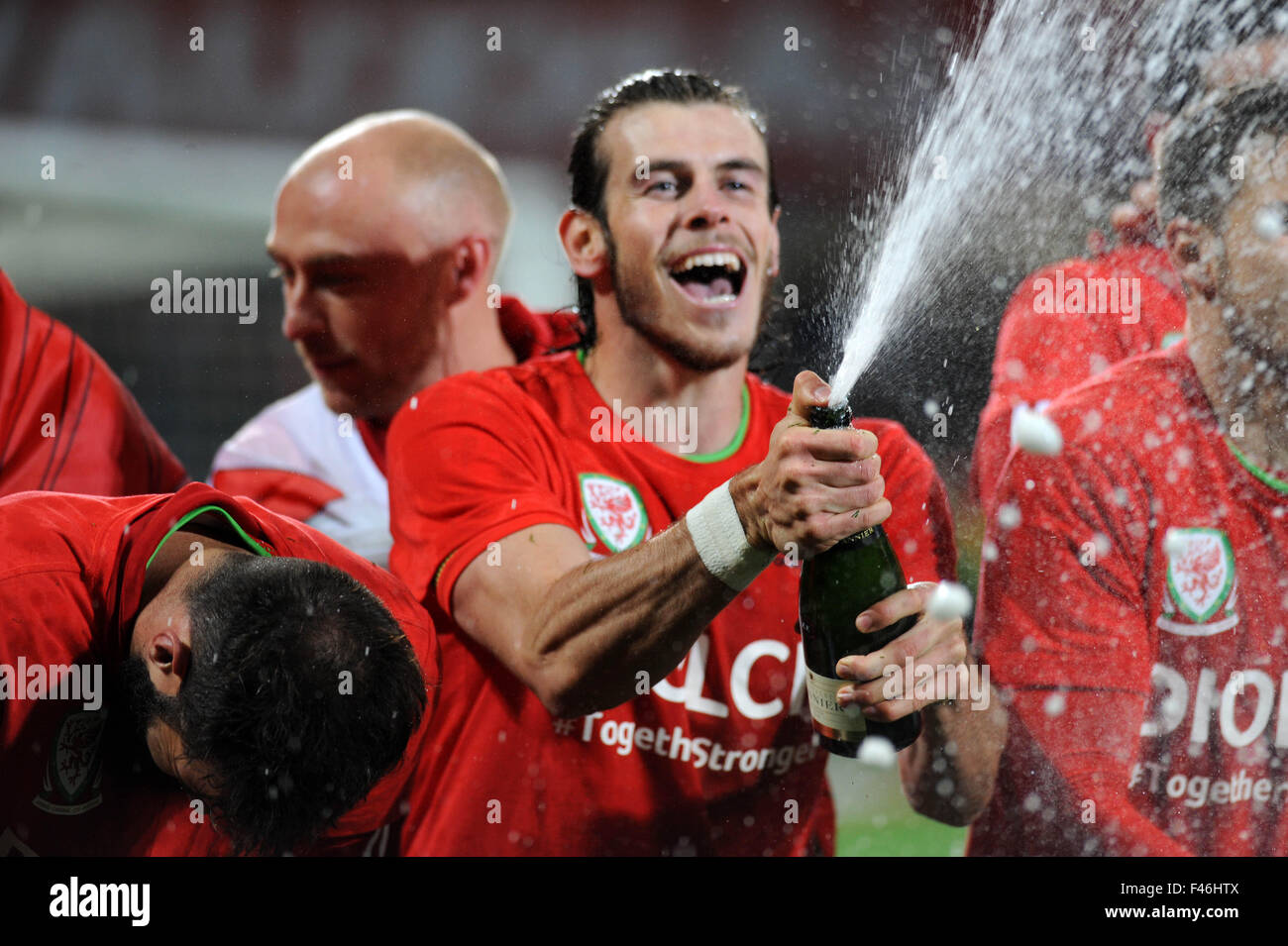 UEFA EURO 2016 Qualifier match between Wales and Andorra at Cardiff City Stadium in Cardiff :  Gareth Bale celebrating - Stock Image