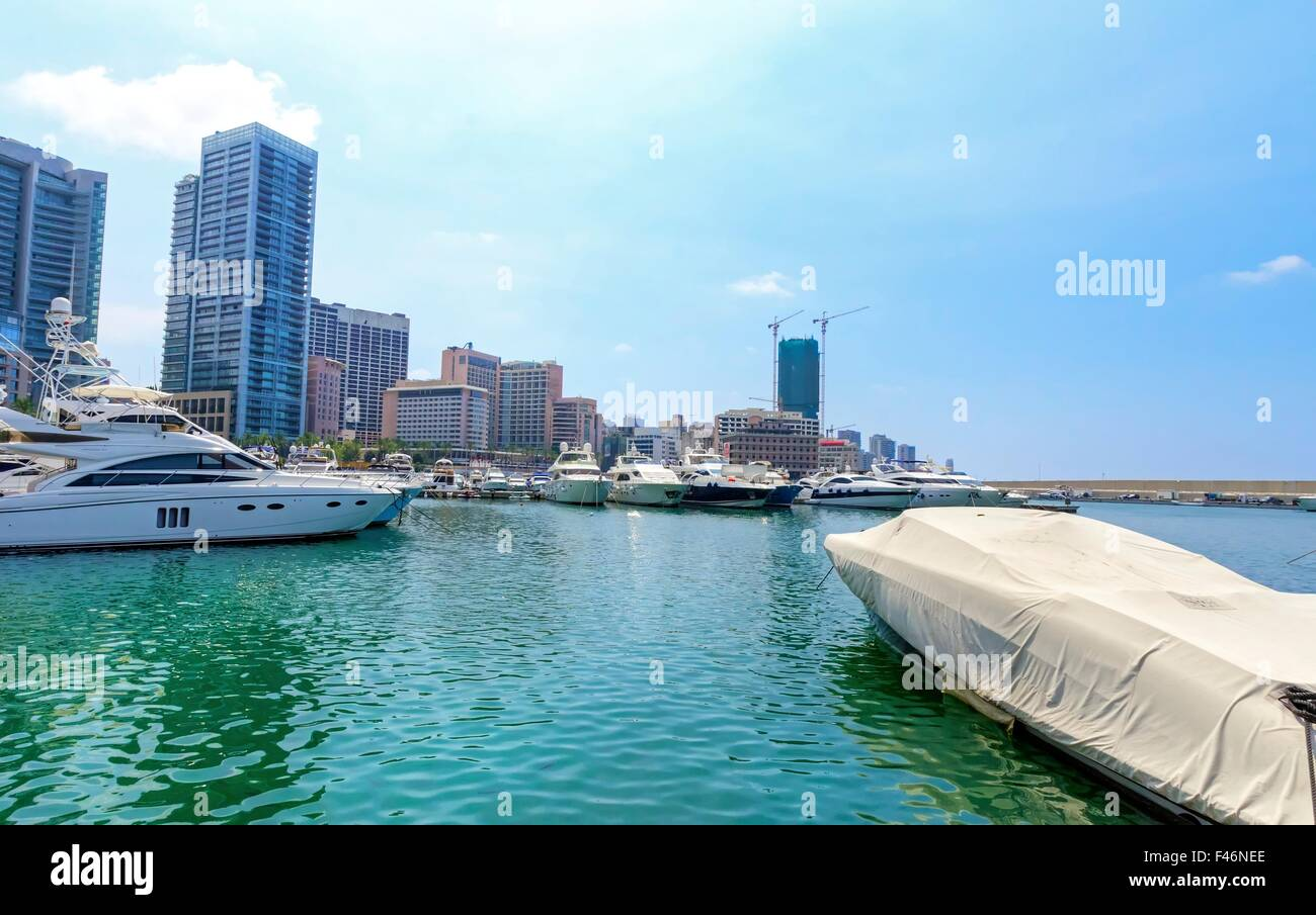 A view of the beautiful Marina in Zaitunay Bay in Beirut, Lebanon. A very modern, high end and newly developed area Stock Photo