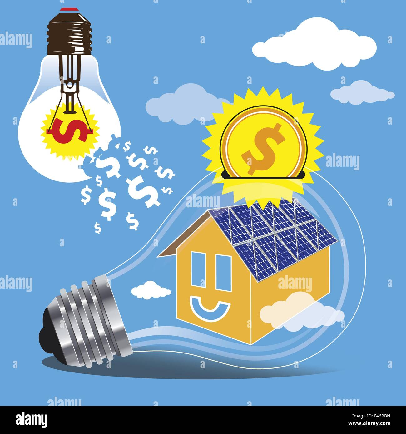 The concept of saving money by the use of clean energy of the sun. Construction of solar panels on the roofs of - Stock Vector