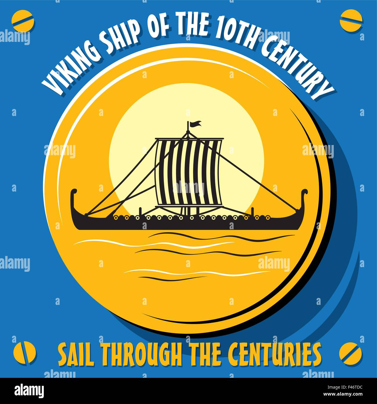 Sail through the centuries.Viking ship of the 10th century. Vector  illustration - Stock Vector