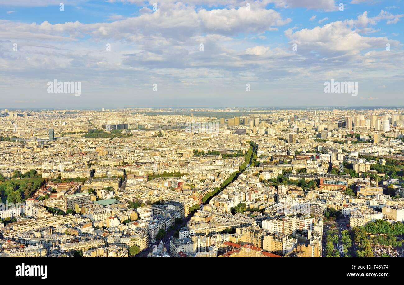 Cimentiere de Montparnasse and northeast of city, seen from Tour de Montparnasse observation deck, Paris, Ile de - Stock Image