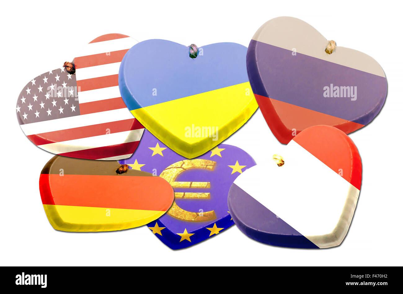 Flags heart - Patriotism - Illustration - Stock Image
