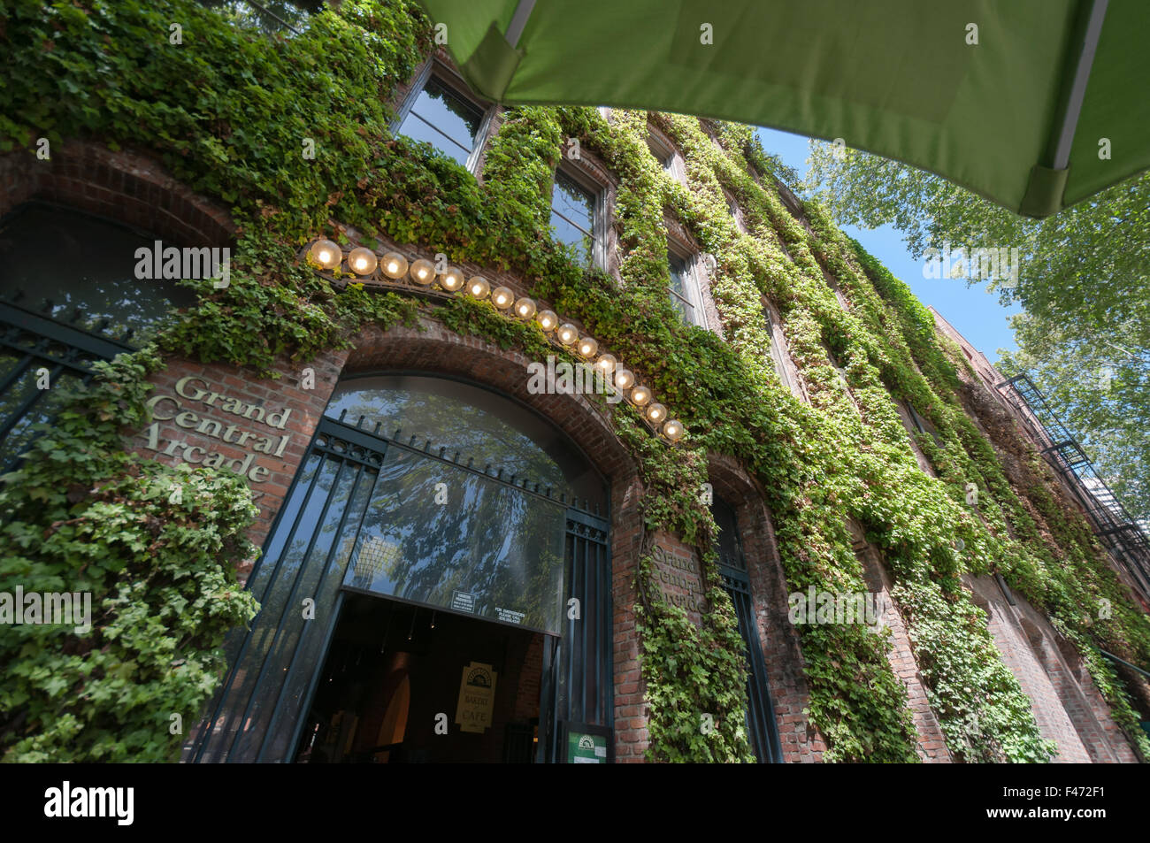 Grand Central Arcade entrance covered in Virginia Creeper - Stock Image