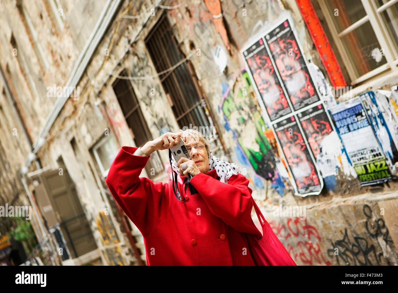 A woman on vacation in Berlin, Germany. Stock Photo