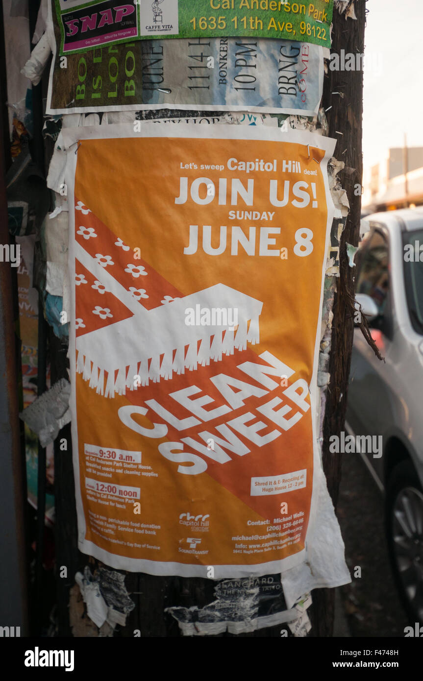 Clean Sweep community clean up event poster - Capitol Hill Chamber of Commerce & Seattle PrideFest - Stock Image