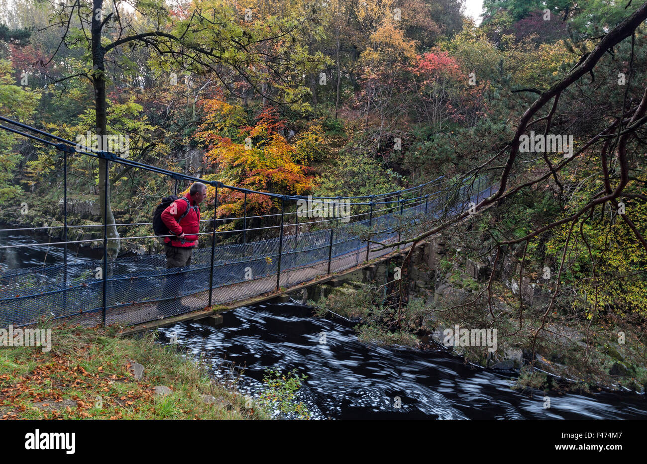River Tees, Wynch Bridge, Bowlees, Upper Teesdale, County Durham.  Thursday 15th October 2015, UK Weather.  It was - Stock Image