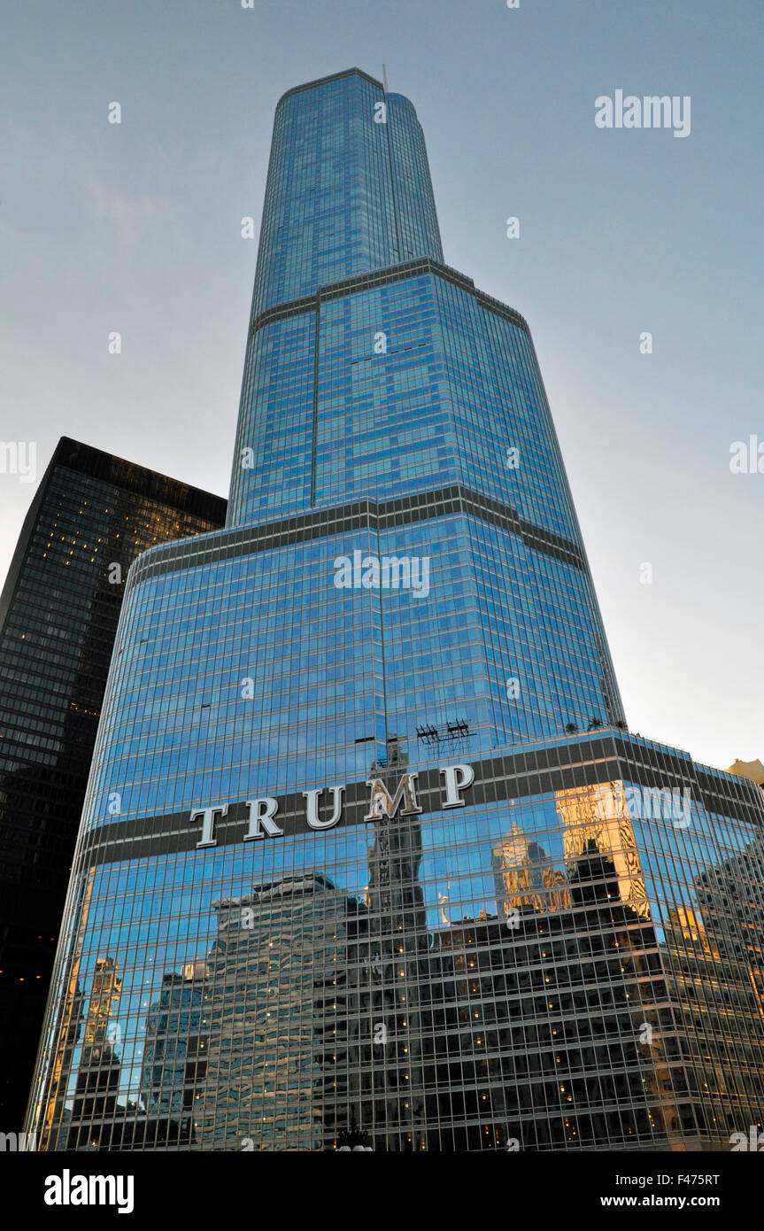 Trump Tower, Chicago, Illinois, United States of America - Stock Image