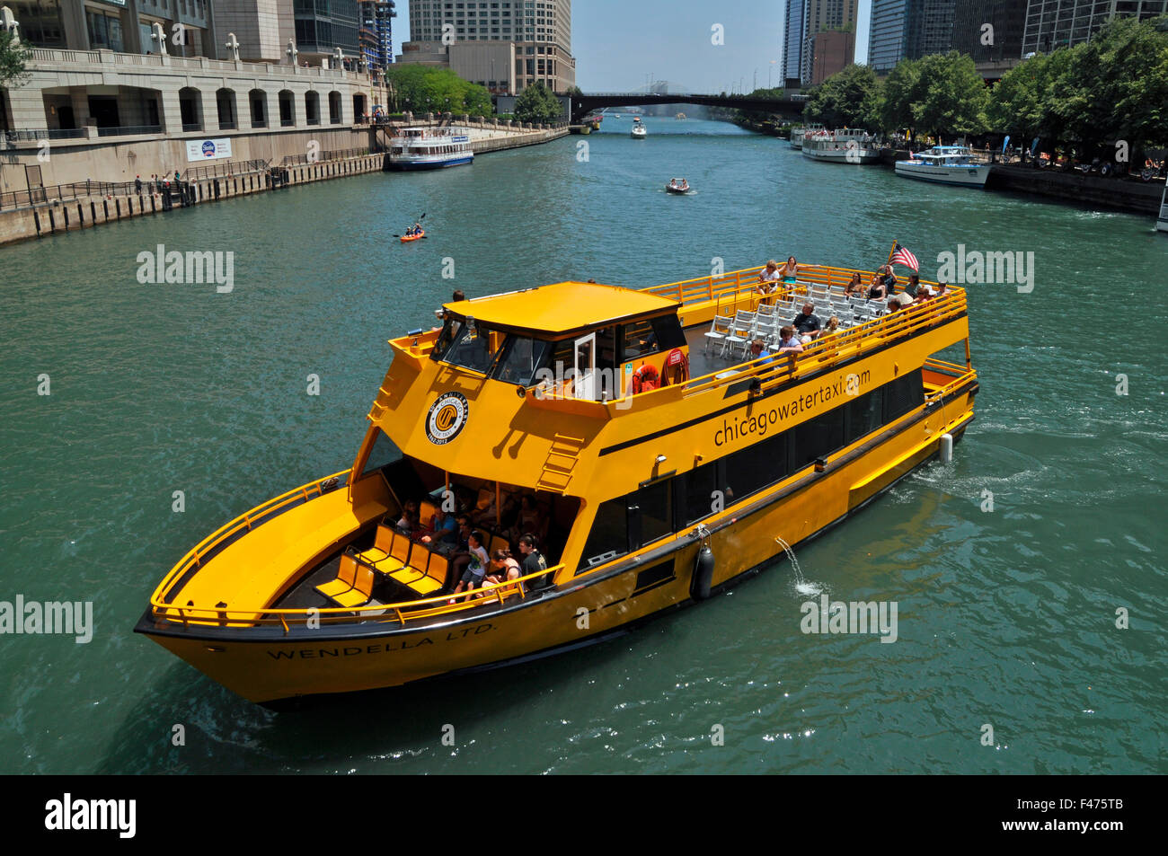 Chicago watertaxi on Chicago River, Chicago, Illinois, United States of America - Stock Image