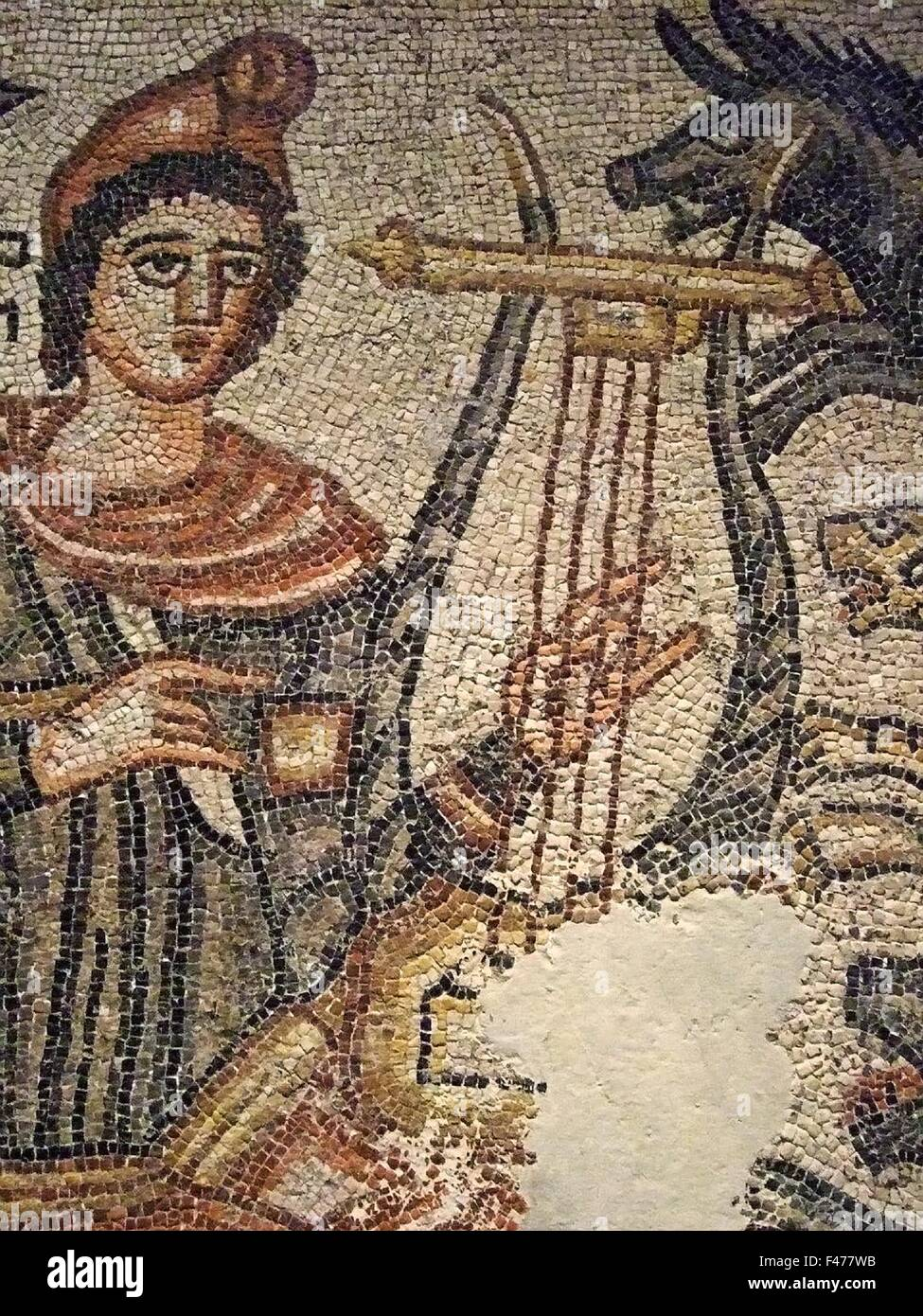 4156.ORPHEUS MOSAIC, FROM A BYZANTINE PERIOD FUNERARY CHAPEL IN JERUSALEM, detail. - Stock Image