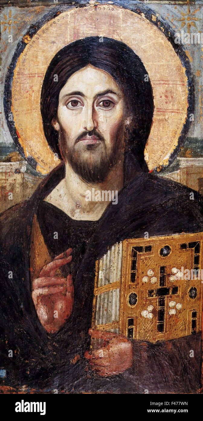 5777. The oldest known icon of Christ, 6-7th. C, St. Catharine's Monastery in Sinai. Painting on panel - Stock Image