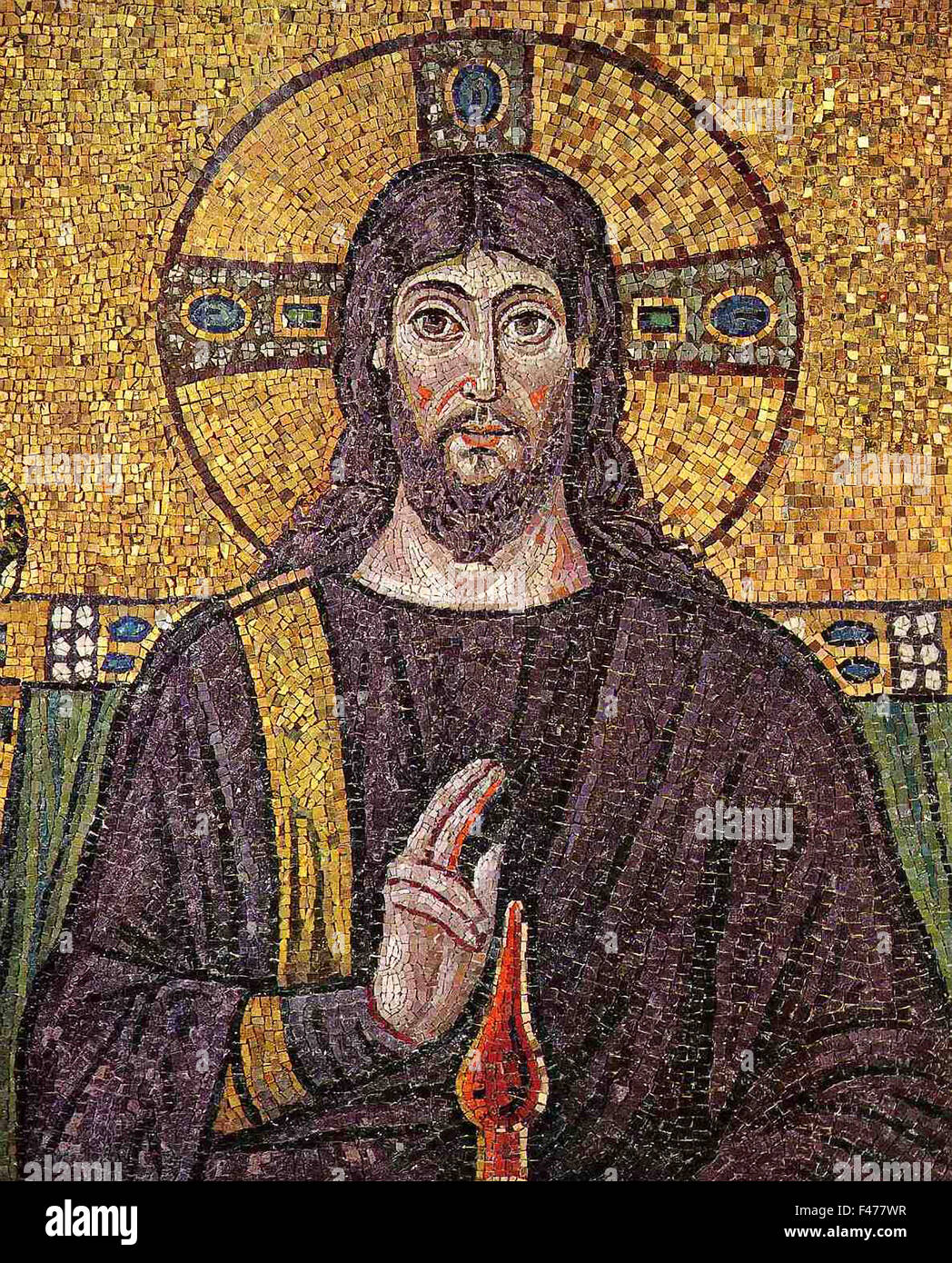 5779. Jesus Christ,  Detail of mosaic dating from the 6th. C, church of St. Apollinare Nuovo, Ravenna, Italy - Stock Image