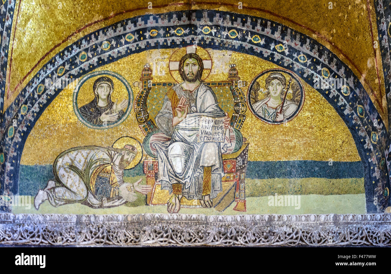 5781. Mosaic depicting Jesus Christ and Leon IV at his feet. Hagia Sophia, Istanbul Stock Photo