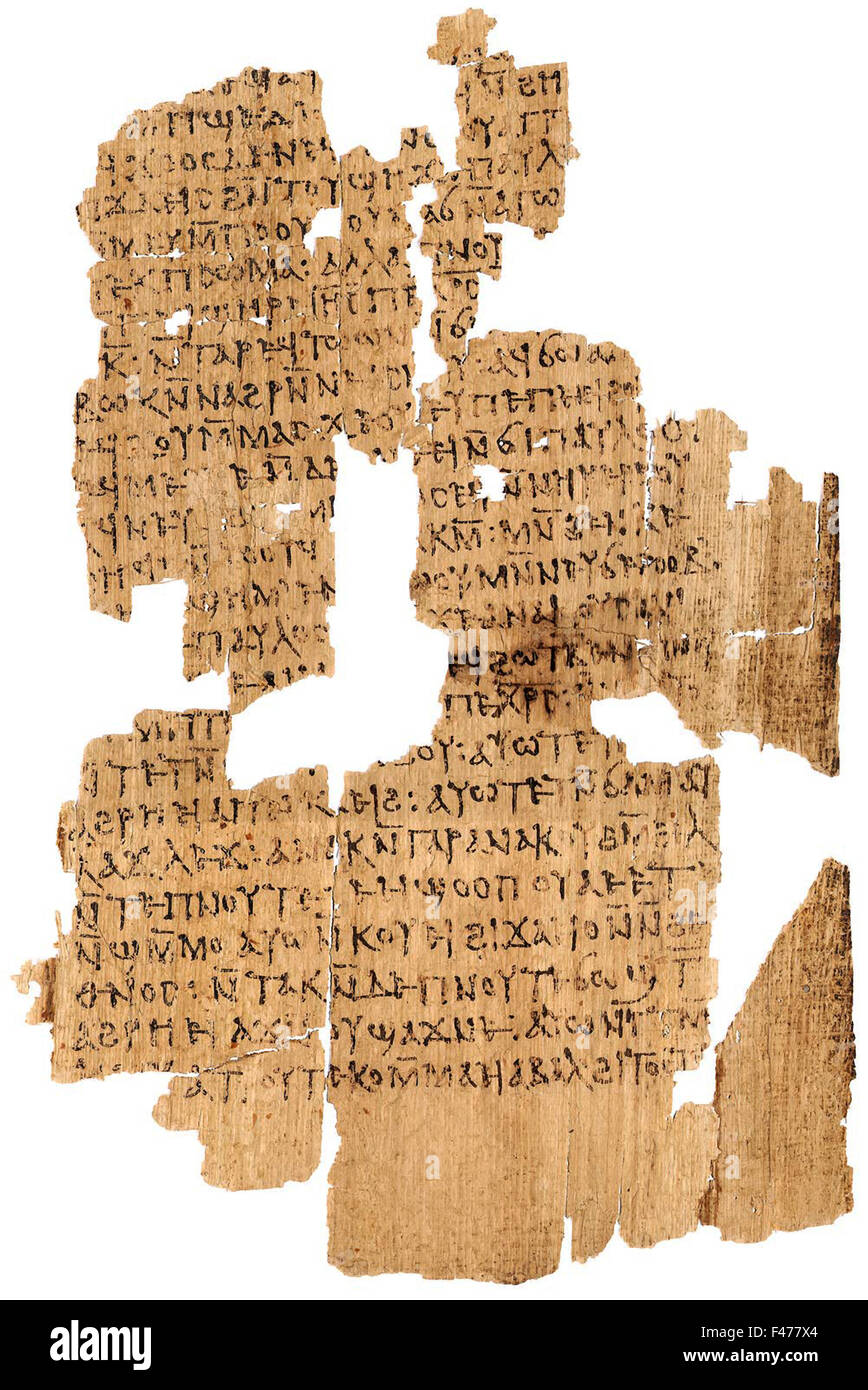 5796. Letters of Paul, papyrus containing the apocryphal acts of Paul in Coptic. - Stock Image