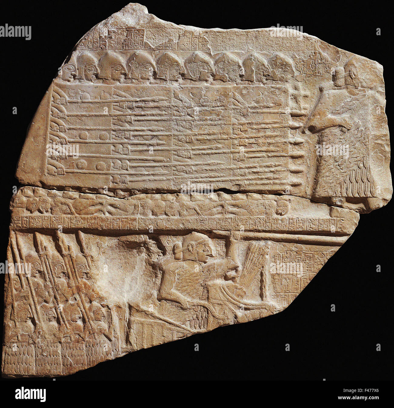 5803. Victory stele of Ennatum King of Lagash (Syria) dating c. 2600-2350 BC.  The limestone carved stele shows Stock Photo