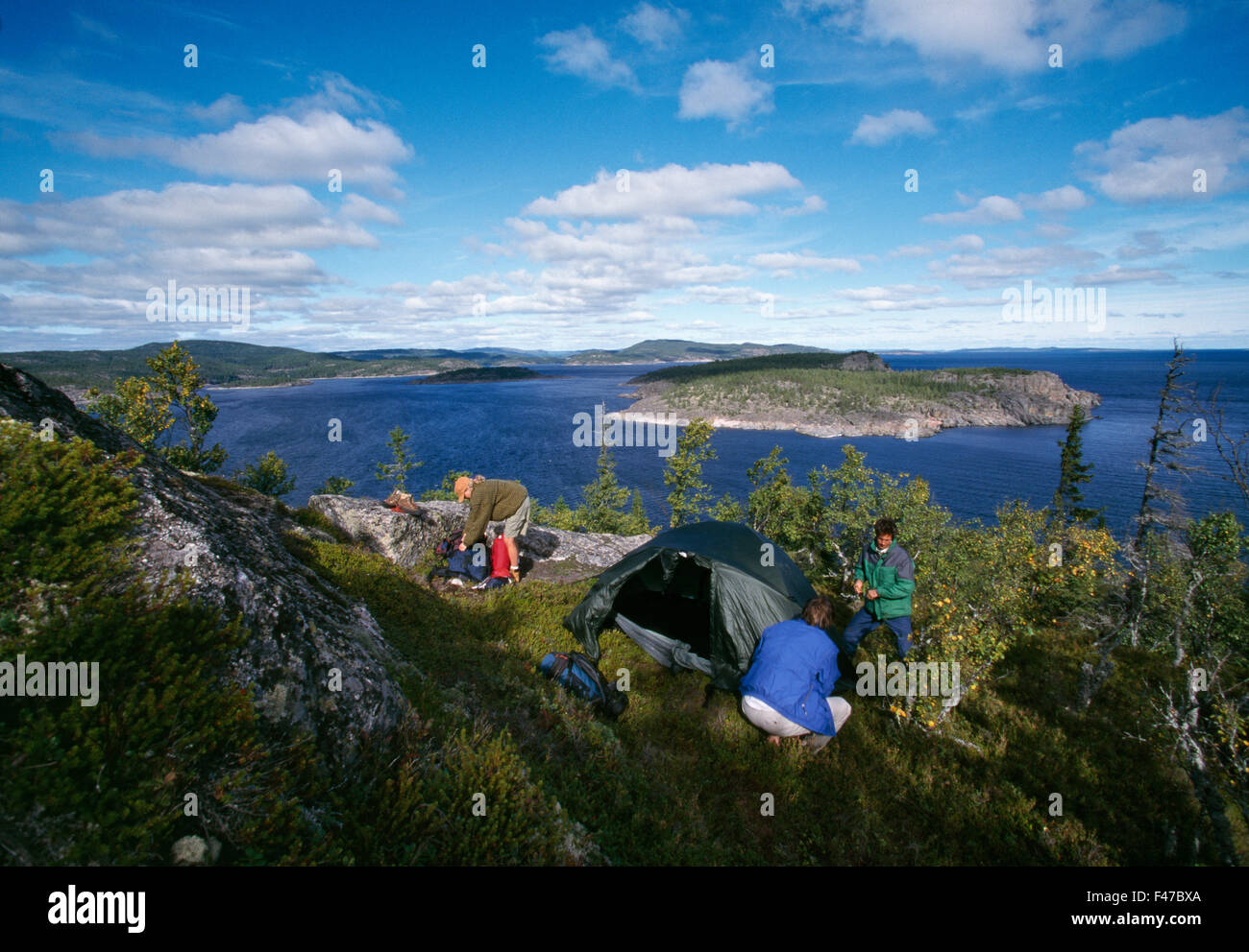 Campers with tent, Angermanland, Sweden. - Stock Image