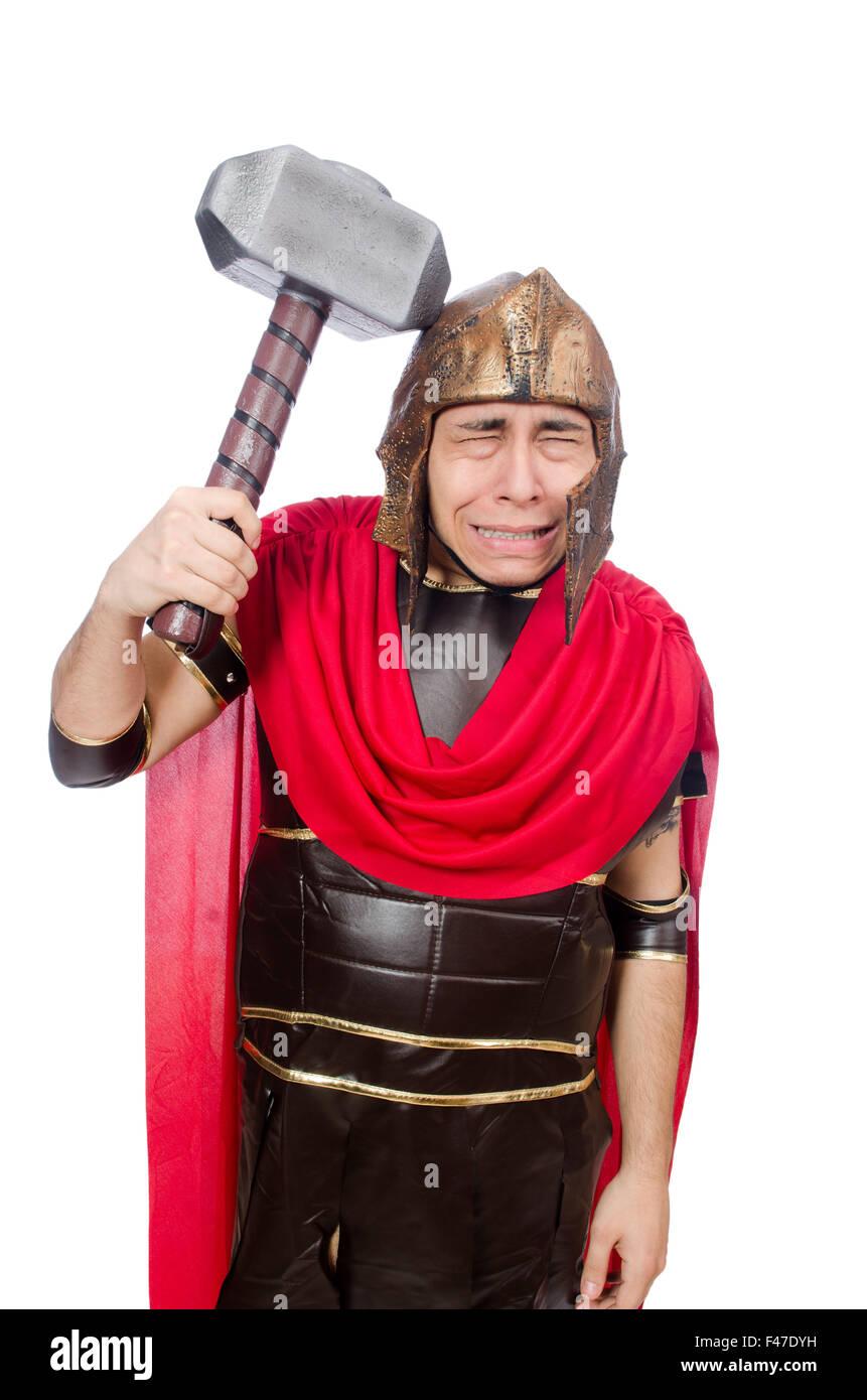 Gladiator with hammer isolated on white - Stock Image