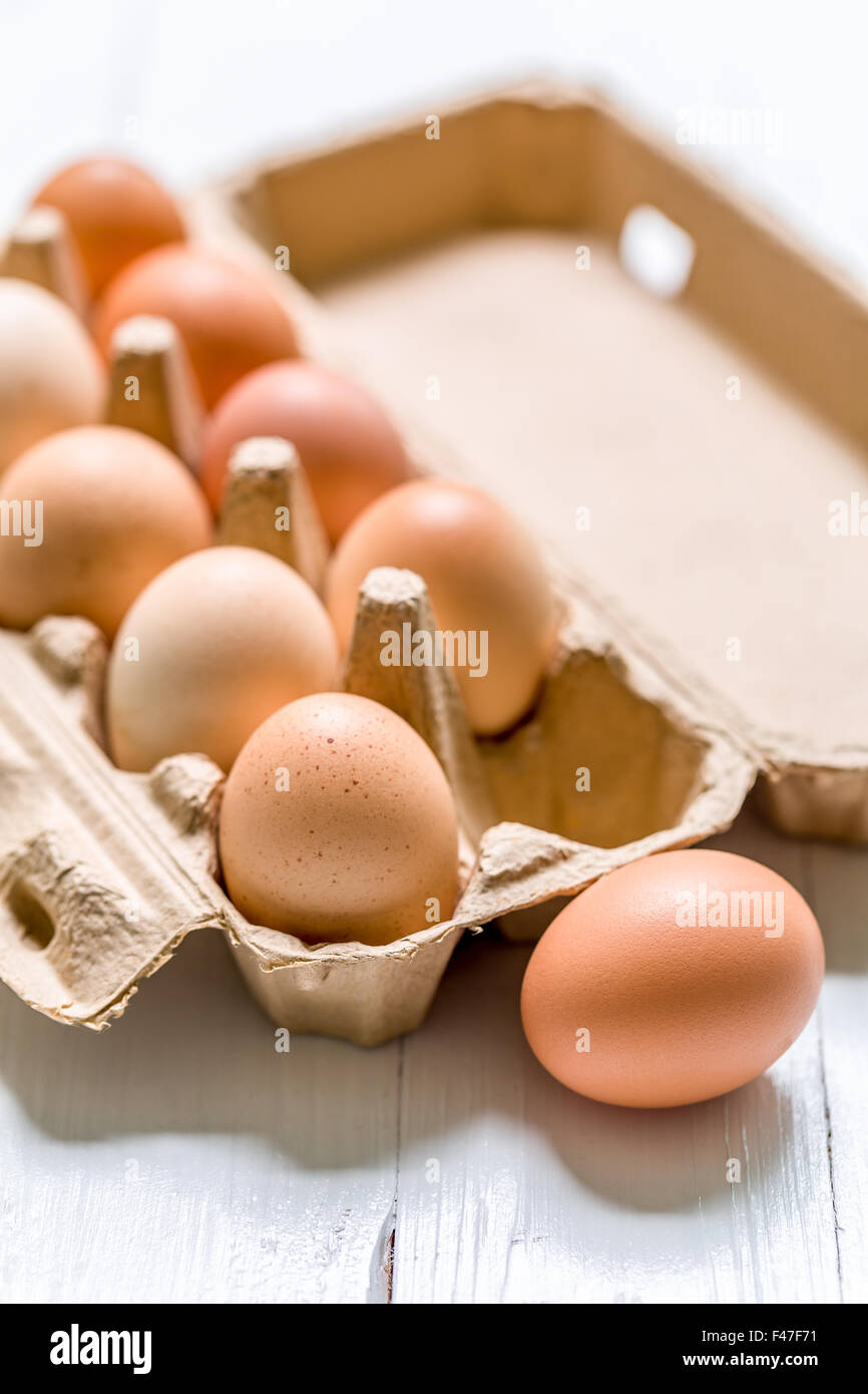 Business concept of thinking outside the box illustrated by eggs. - Stock Image