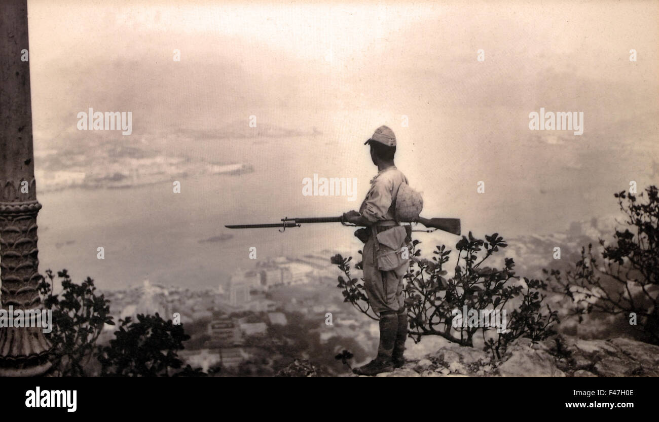 A Japanese sentry at the Peakof Hong Kong  ( Second World War II 2nd Chinese Sino Japanese military conflict Republic - Stock Image