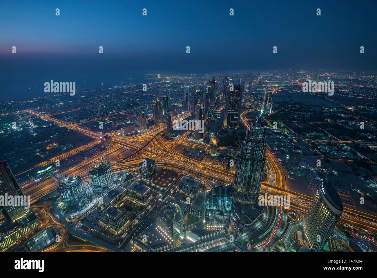 Dubai downtown viewed under the bridge - Stock Image
