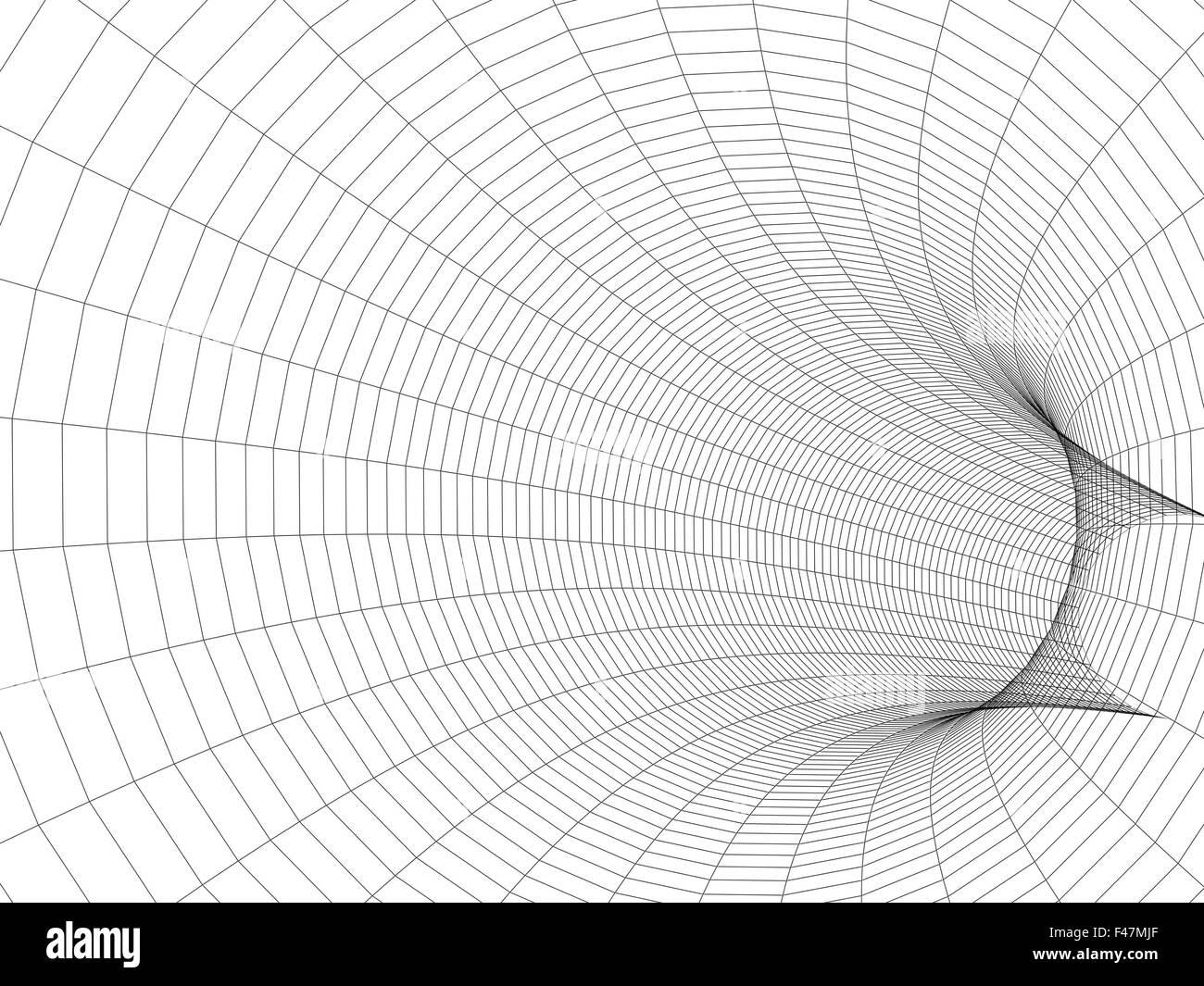 Turning tube tunnel 3d illustration. Black wire-frame digital mesh ...