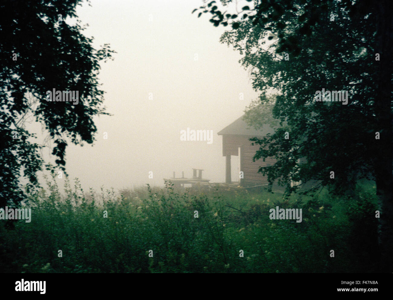 Boathouse in haze, Angermanland, Sweden. - Stock Image