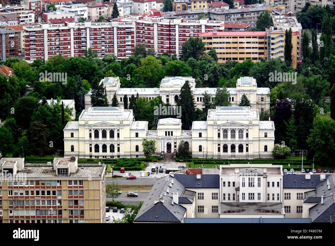 The National Museum of Bosnia and Herzegovina seen from Avaz Twist Tower. - Stock Image