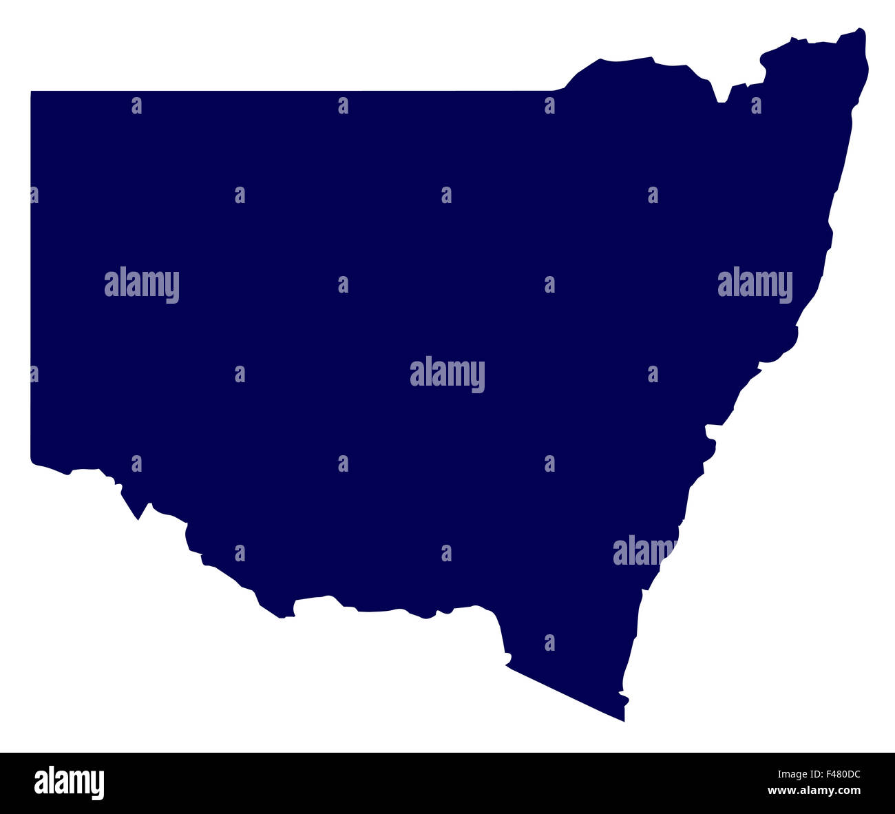 Silhouette map of the Australian state of New South Wales over a white background - Stock Image