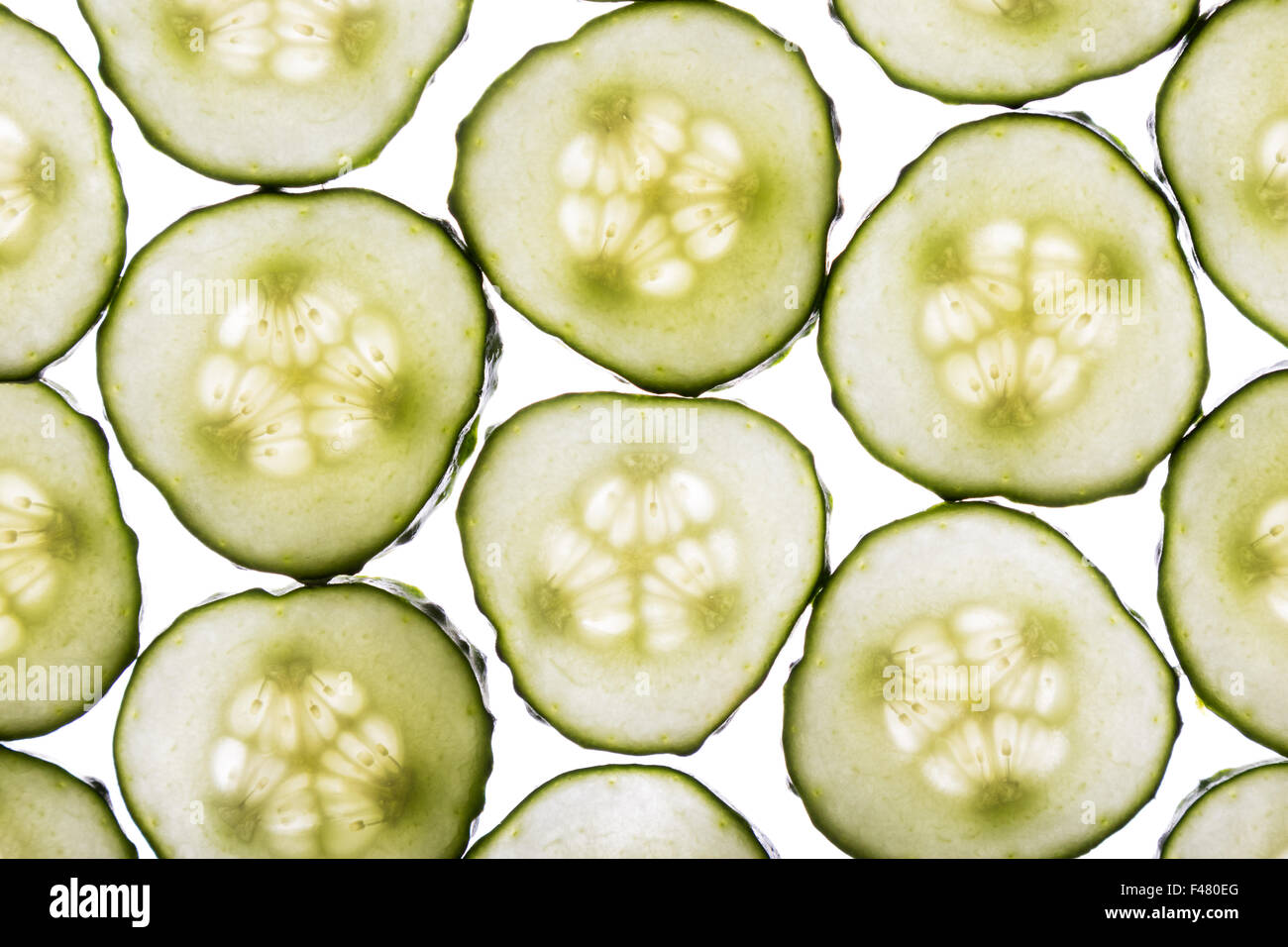 cucumber slices - Stock Image