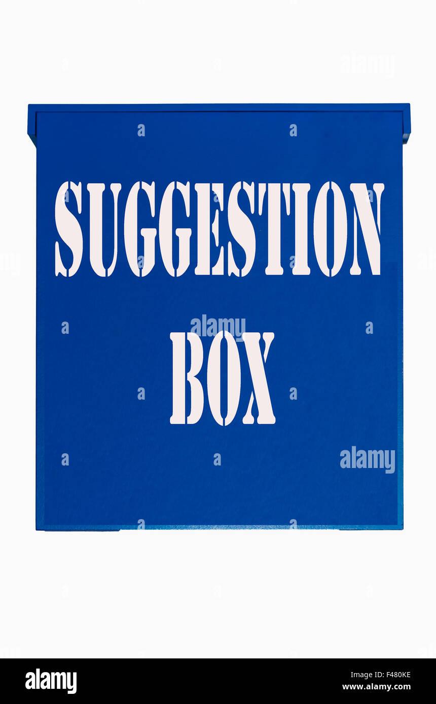 Blue wooden box, suggestion box,Ballot Box, - Stock Image