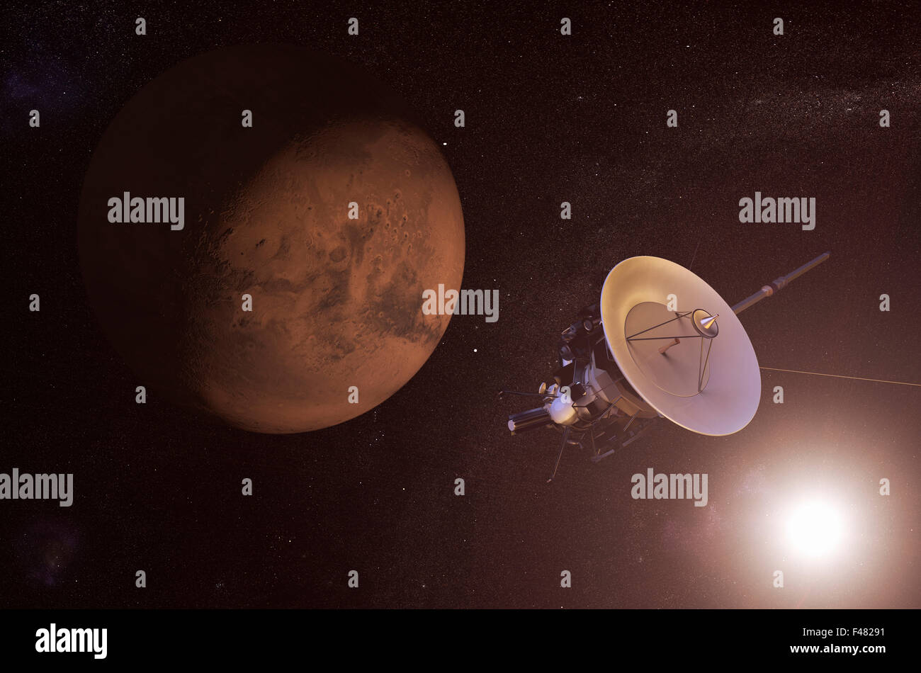 Digital illustration of an unmanned spacecraft approaching Mars - Stock Image