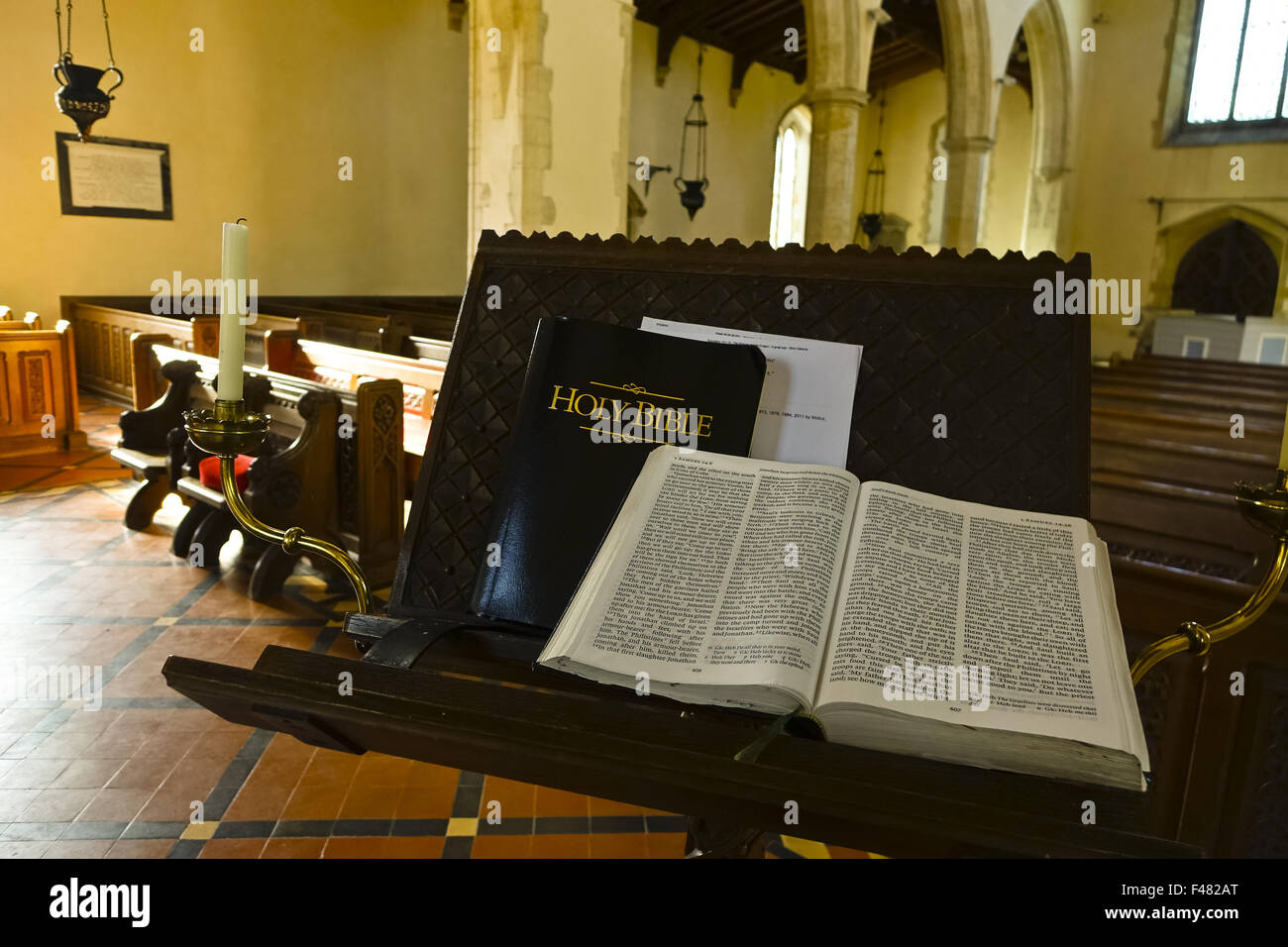 holy bible on church lectern - Stock Image