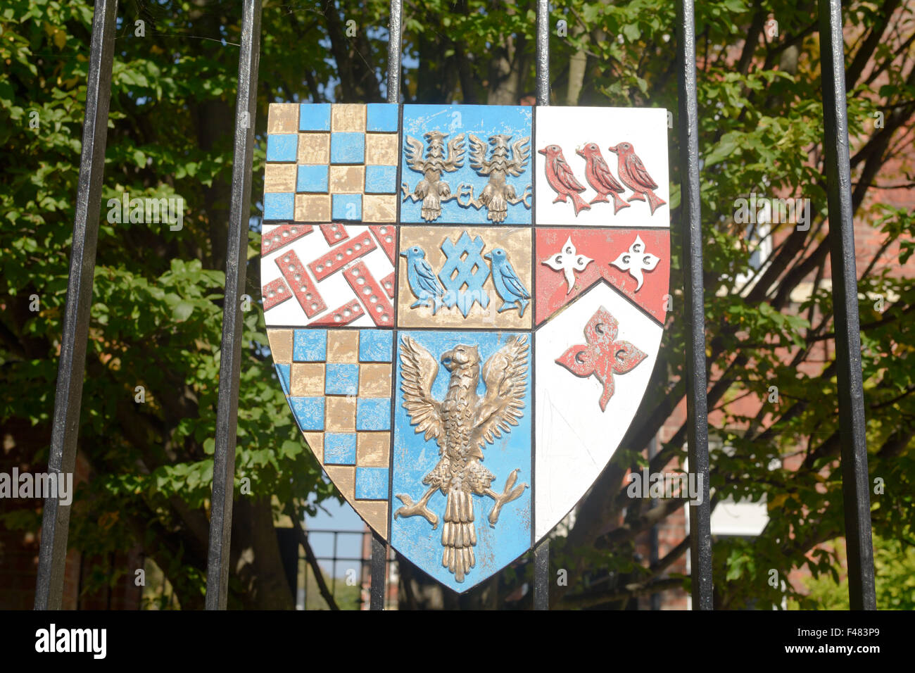 Bedford Boys School colourful Coat of Arms on gate in